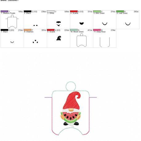 Watermelon Gnome sanitizer holder eyelet 4×4