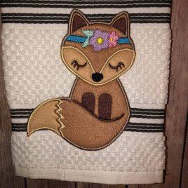 Boho Fox Applique – 3 sizes- Digital Embroidery Design