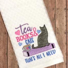 Tea Books Cats – 3 sizes- Digital Embroidery Design