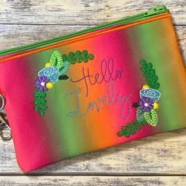 Hello Lovely Zipper Bag – 2 sizes – Digital Embroidery Design