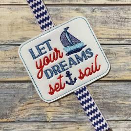 Dreams Set Sail Book Band – Embroidery Design, Digital File
