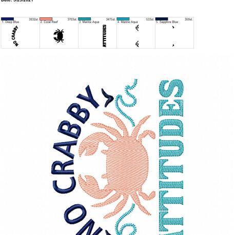 No Crabby Attitudes 5×7