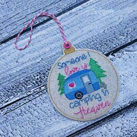 Camping in Heaven Ornament – Digital Embroidery Design
