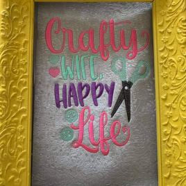 Crafty Wife, Happy Life – 3 sizes- Digital Embroidery Design