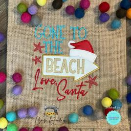 Gone to the Beach Applique – 3 sizes- Digital Embroidery Design
