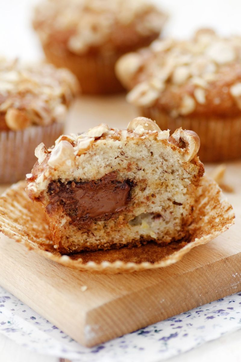 Nutella Filled Banana Muffins