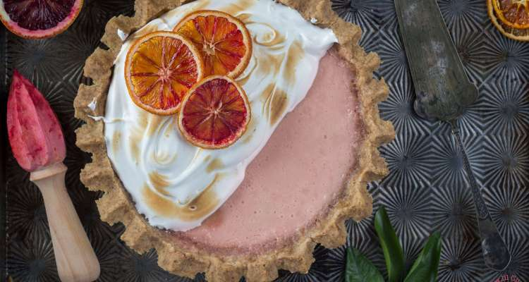 Blood orange tart with brown butter crust | lilcupcakemonkey.com