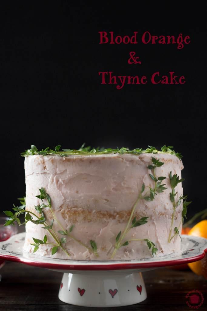 Blood orange and thyme cake with blood orange curd | lilcupcakemonkey.com