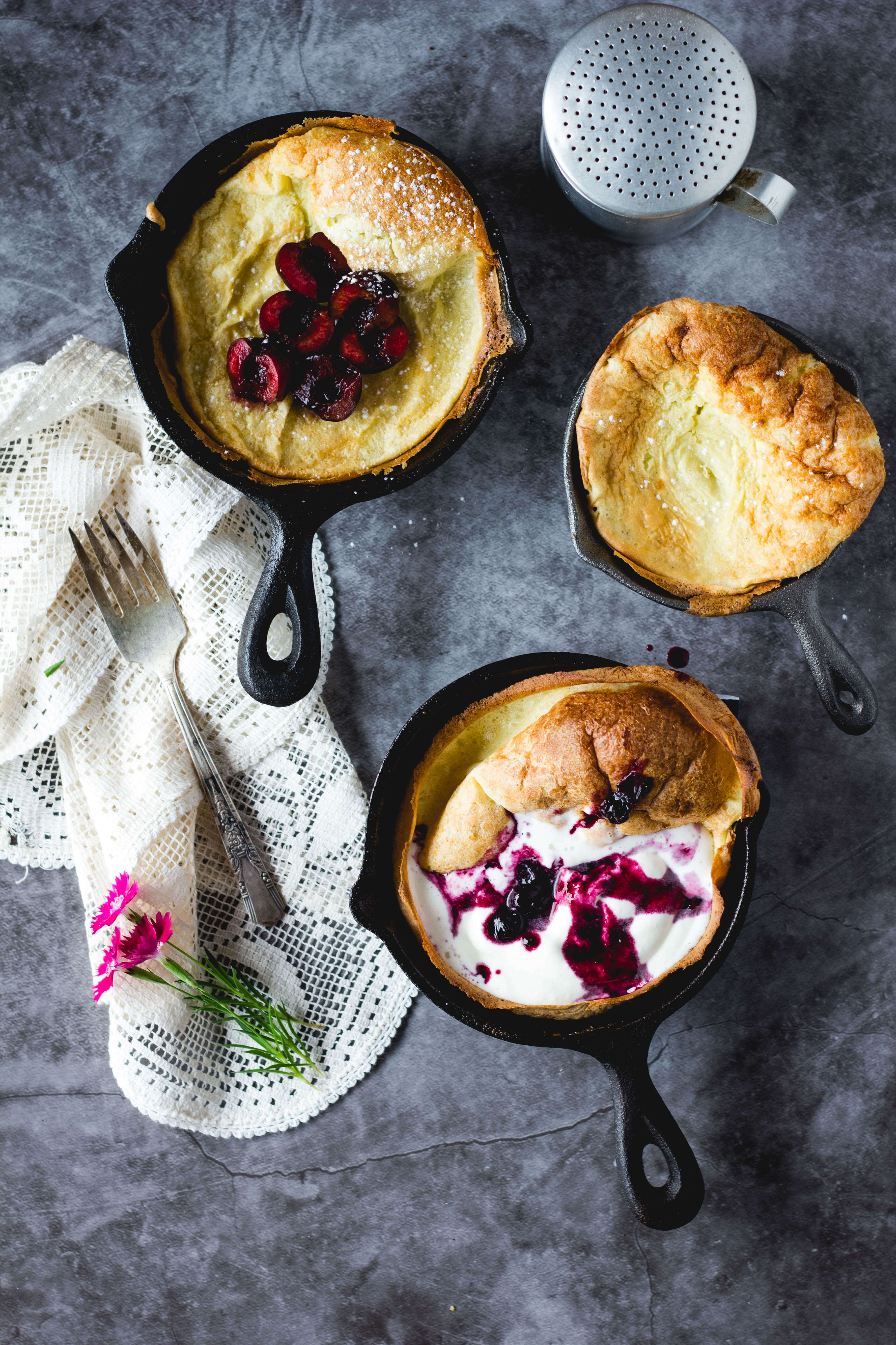dutch baby pancakes with elderflower whipped cream