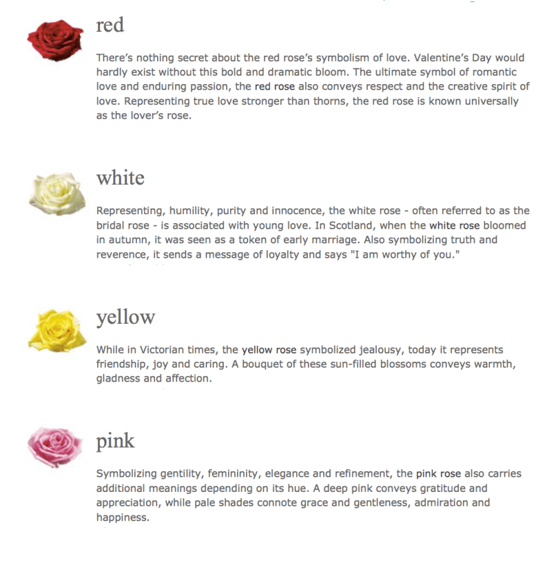 Rose Color Symbolism Chart Coloringsite