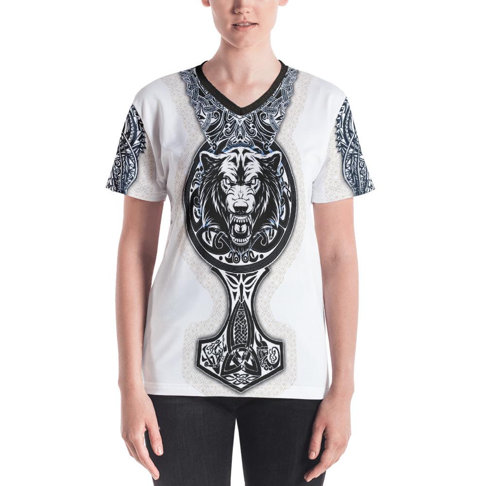 "Fenrir ""Mjolnir"" – T-shirt col V Femme"