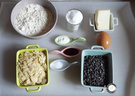Cookies Chocolat Amandes ingrédients
