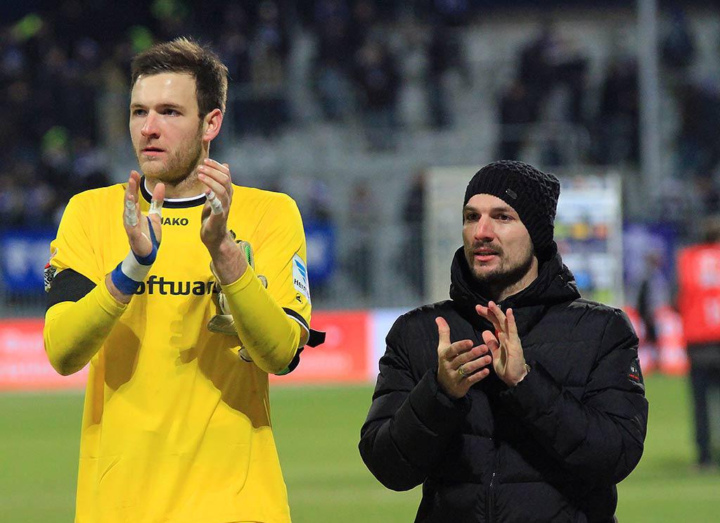 Michael Esser (links) und Jerome Gondorf, SV Darmstadt 98
