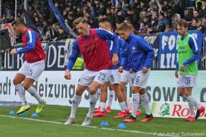 Auf dem Sprung? Nicolai Rapp (vorne, rotes Leibchen) und Matthias Bader (grünes Leibchen), SV Darmstadt 98