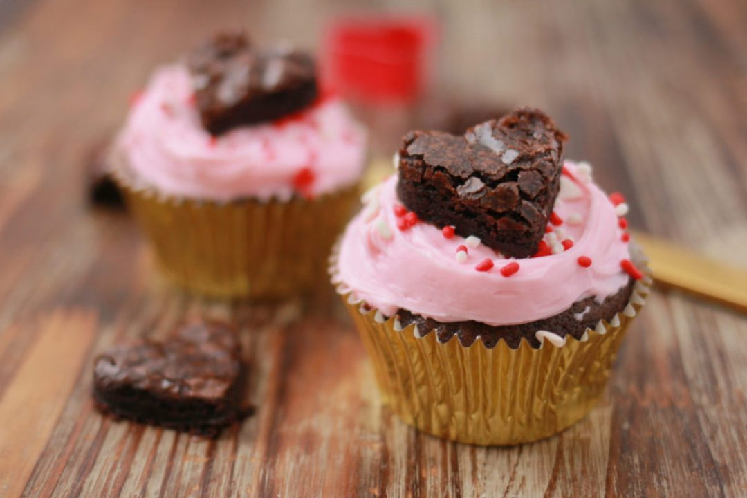 Fudgy Brownie Heart Cupcakes for Two