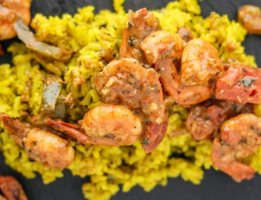 Yellow Rice and Mediterranean Shrimp