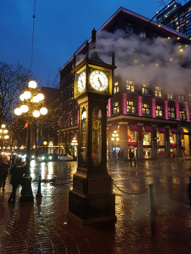 Steam Clock by night
