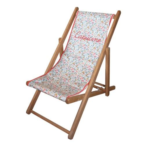 chaise longue toile liberty capucine personnalisable