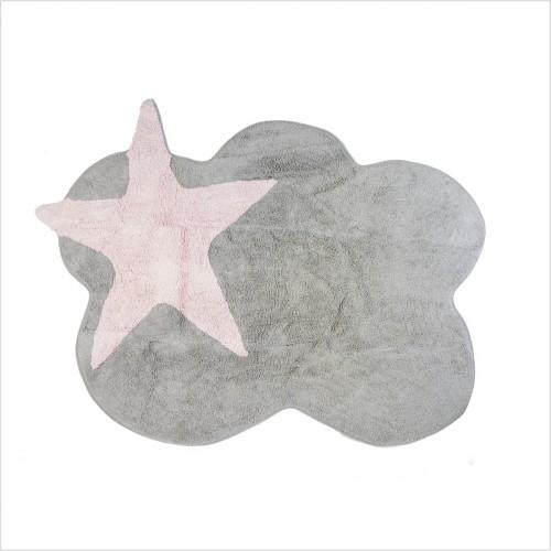 tapis enfant nuage gris et etoile rose