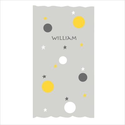rideau gris motif bulles et etoiles jaunes blanches et grises