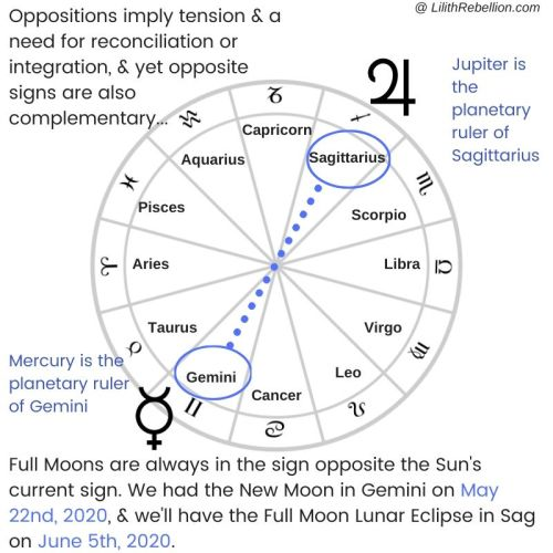 Diagram of chart wheel highlighting the gemini and sagittarius polarity ruled by Mercury and Jupiter, which will be activated during the new moon in Gemini and the full moon in Sagittarius
