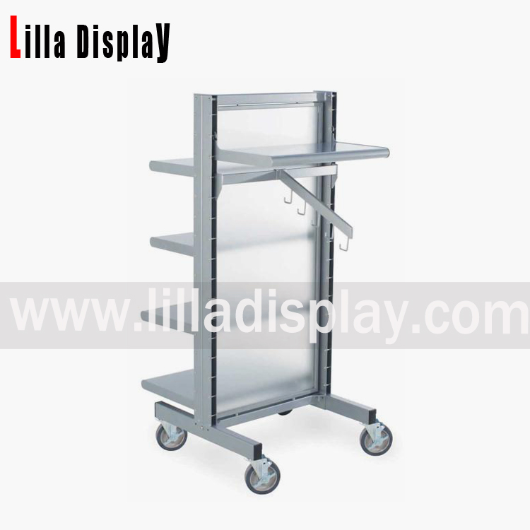 metal and frosted glass display shelves