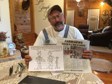 Pro-farmer Cartoonist Rick Friday Photo credit: Christine Hauser NYT