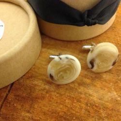 Image of Lilly Dilly's bespoke round cream tortoiseshell design cufflinks