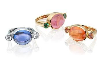 Tanzanite and diamond, pink tourmaline and tsavorite garnet and spessartite garnet in 18 carat gold