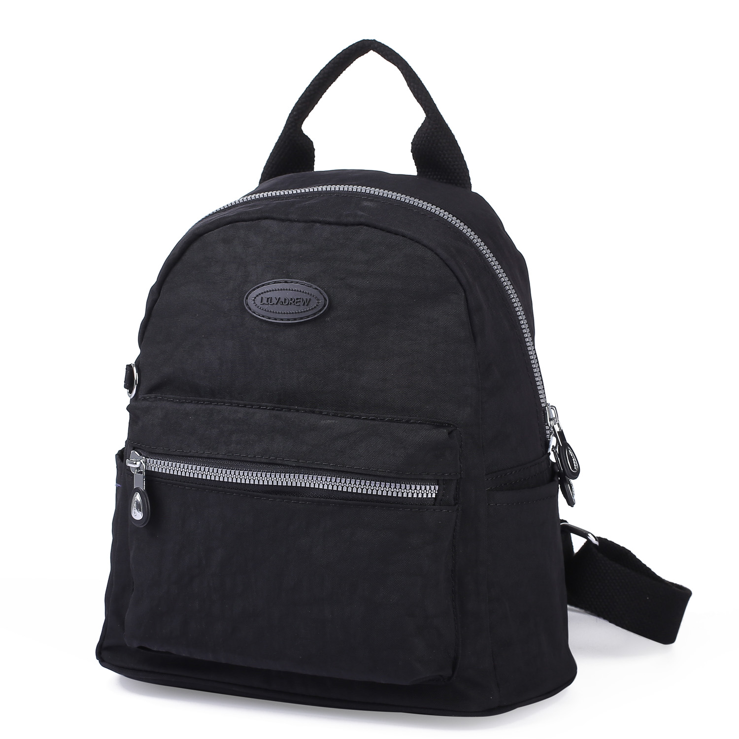 Lily & Drew Nylon Mini Casual Travel Daypack Backpack Purse (Black) - Lily  and Drew