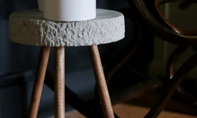 Raw Edge Concrete Plant Stand