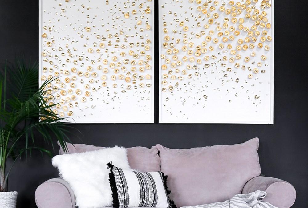 3d Art DIY-->Giant Canas abstract tutorial---> Gold Leaf Decor