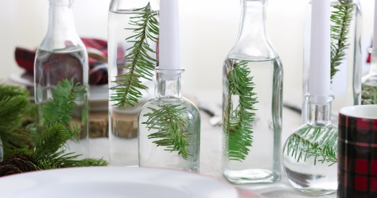 DIY Centerpiece with glass bottles