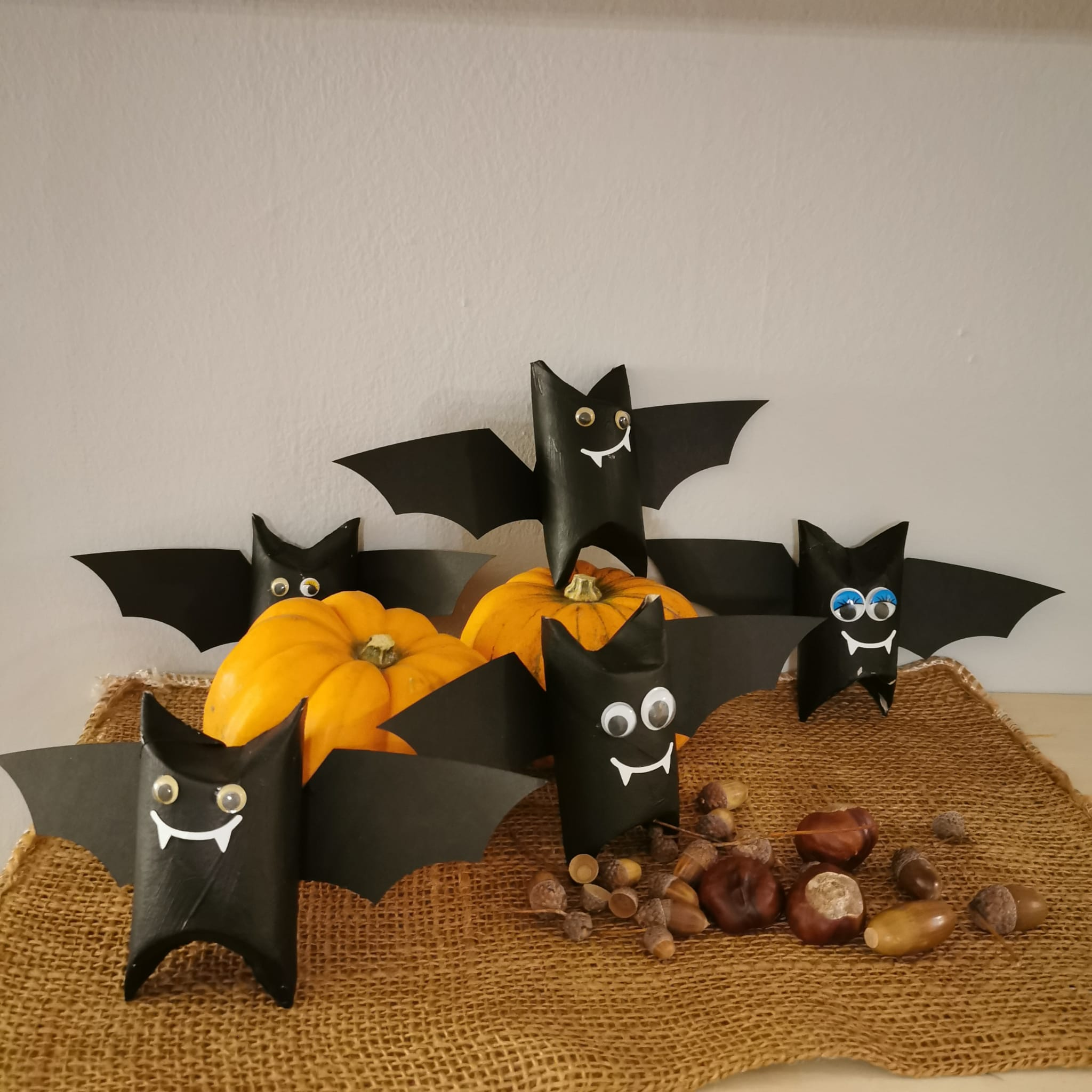 Homemade Bats crafted from toilet paper rolls