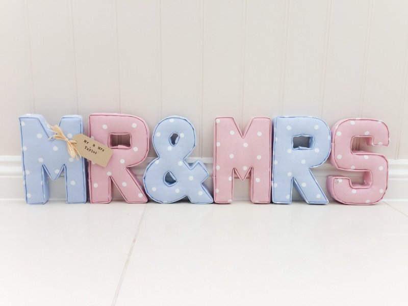 Mr Mrs Fabric letters.handmade to order! If you have any questions, or need any help with fabrics, please don't hesitate to get in touch! Thank you for supporting our small business 🖤 Samantha & Jaine - Lilymae Designs x