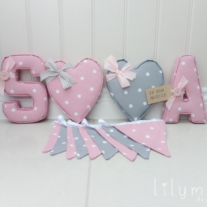Twins fabric wall bunting. Baby girl twins Girl and boy twin nursery. Wedding bunting pink & grey theme