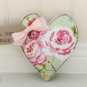 Fabric Hearts. For you Nan gift. English Rose Sage fabric. Sage wall decor. Ideal gift for Mothers Day, Christmas, New Home, Teacher, Sister