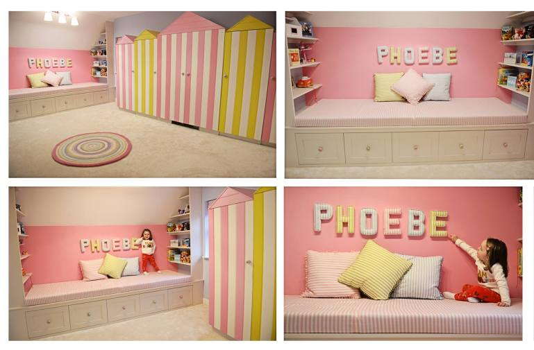Customer Reviews of Lilymae Designs Phoebe nursery wall letters on the wall of play room. Beach hut theme room Candy Stripe