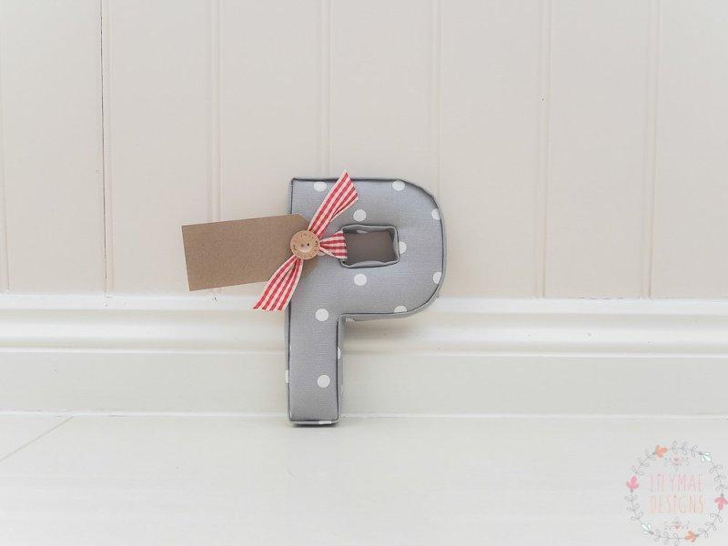 grey nursery fabric letters