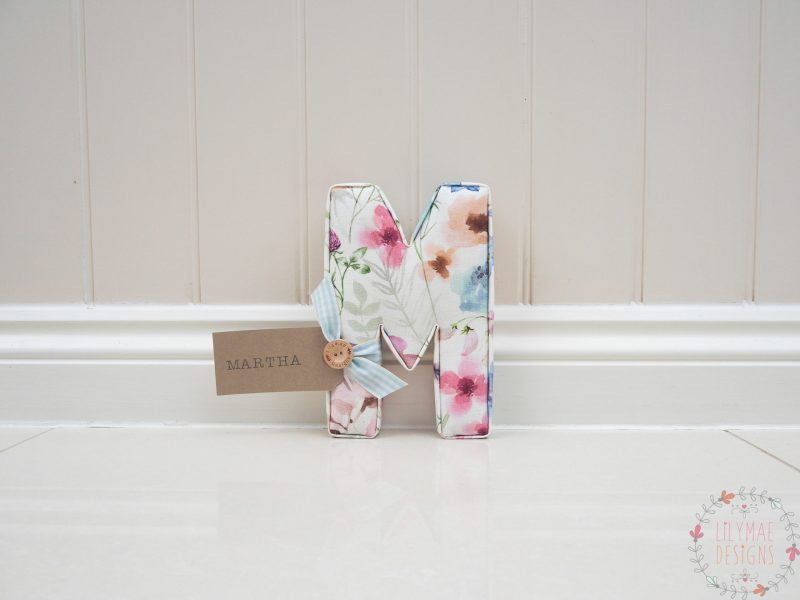 watercolour floral wall letter