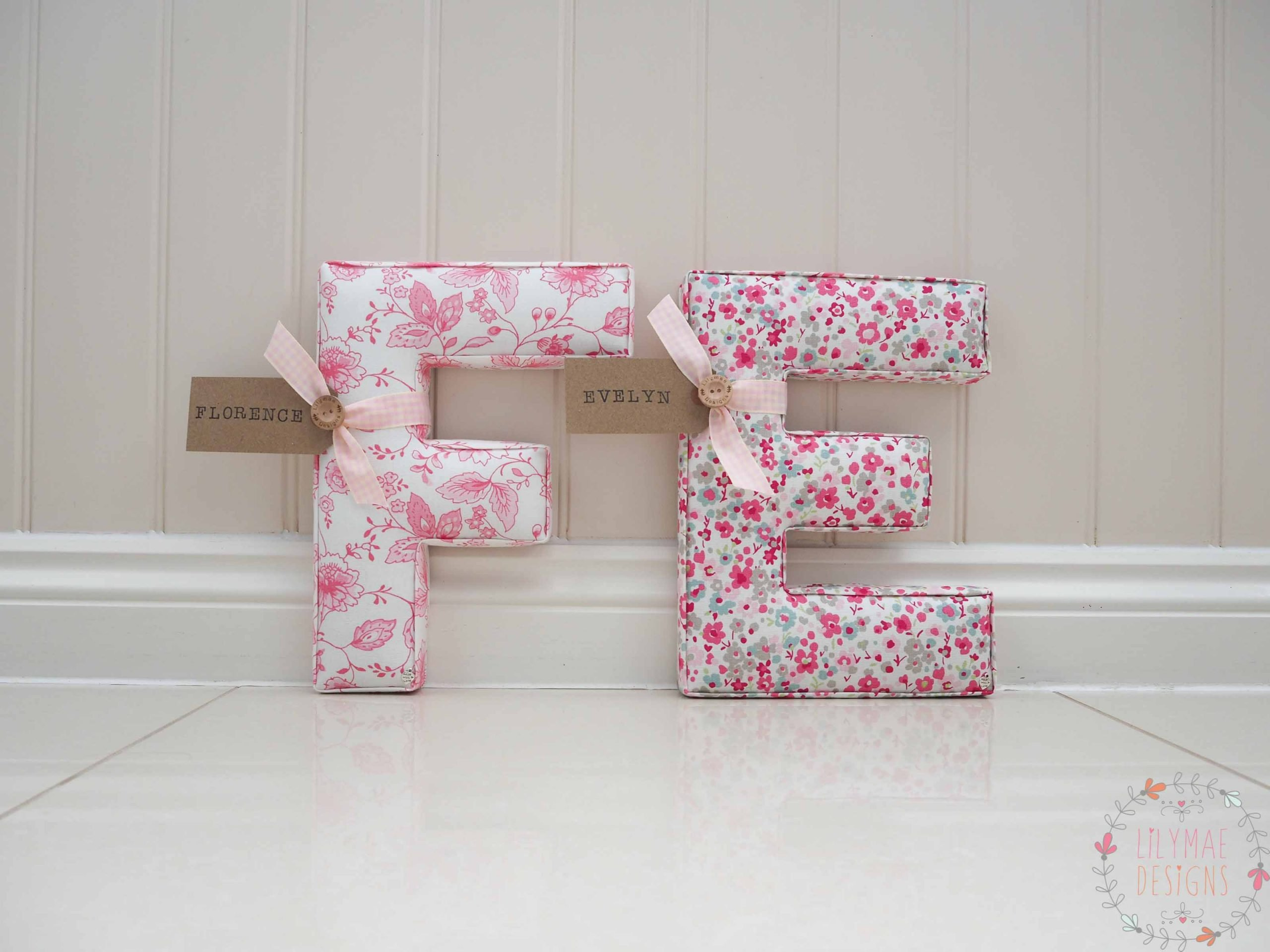 Twins bedroom letters F & E Florence and Evelyn Pink floral fabrics. Lilymae Designs Studio G Price List