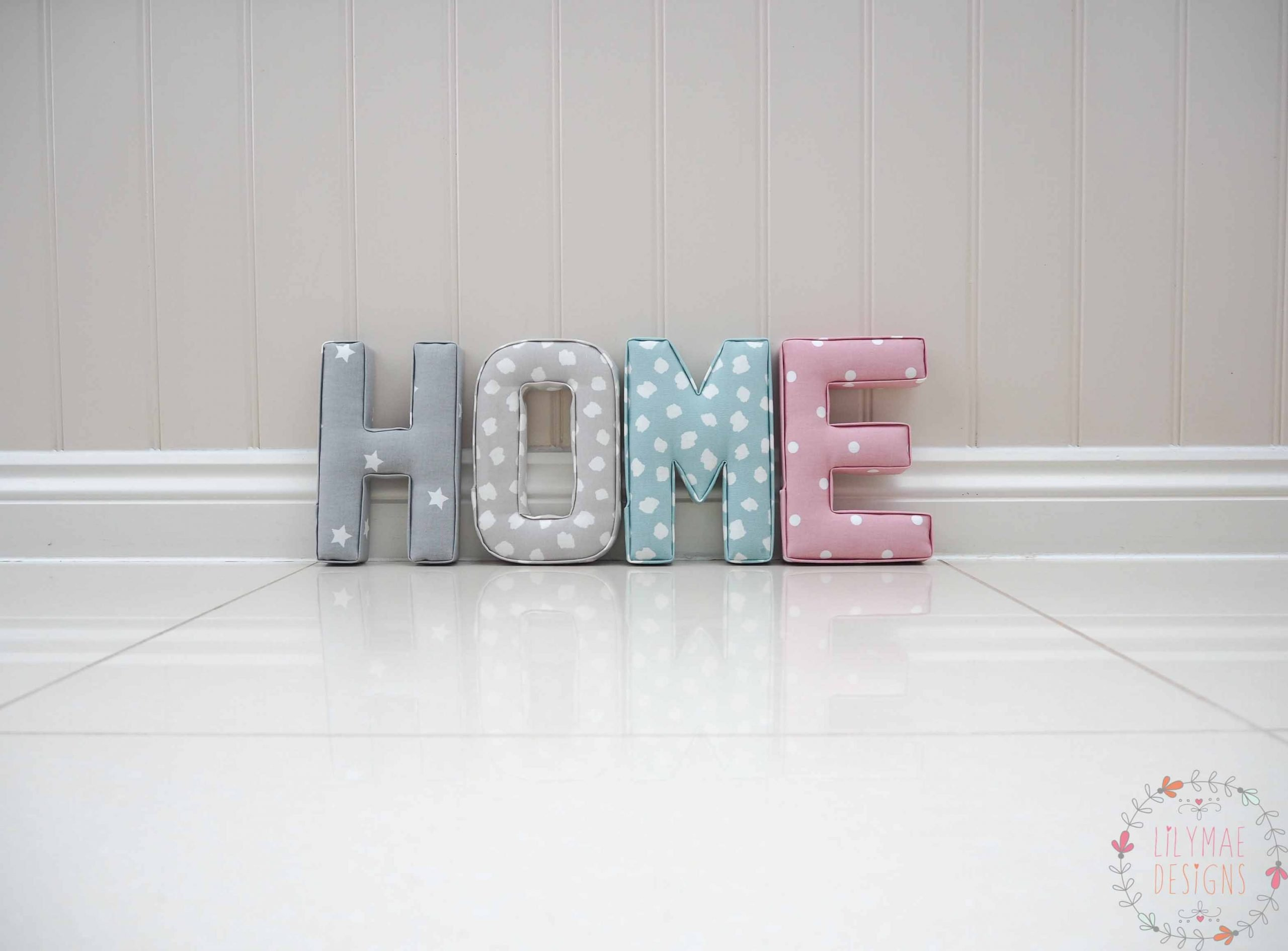 Home fabric letters for hallway grey star fabric, grey dotty fabric, blue dotty fabric, pink dotty fabric. New home present gift Price List