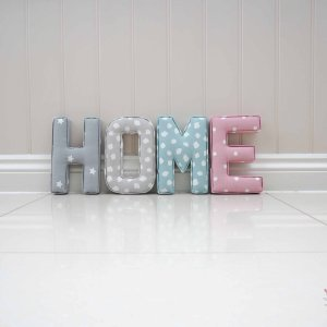 Home fabric letters for hallway grey star fabric, grey dotty fabric, blue dotty fabric, pink dotty fabric. New home present gift