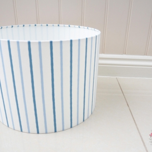 Large lampshade 35cm diameter. Walcott navy fabric blue and navy striped fabric