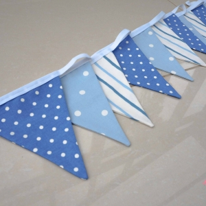 Fabric bunting blue and white spotty stripes Nursery Bunting