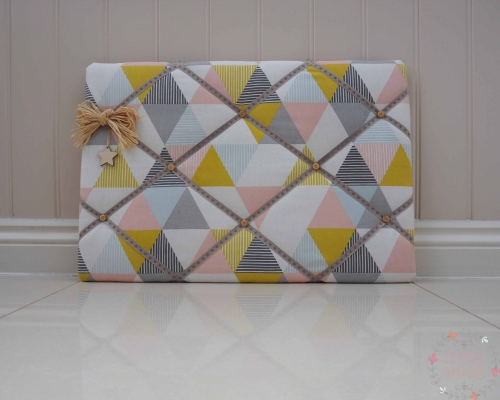 kitchen display memory board in pink blue and grey yellow
