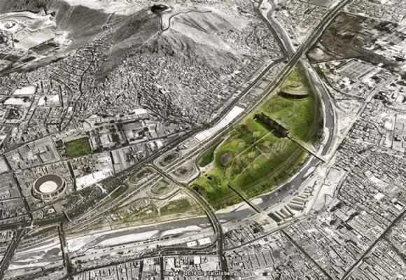En el proyecto, la autopista permanece junto al parque. Fuente: Río Verde