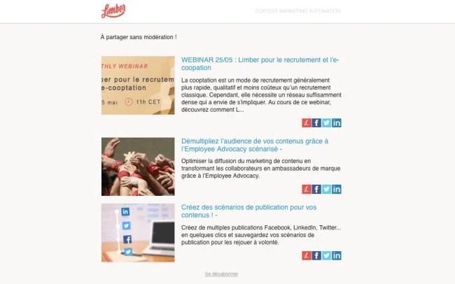 Newsletter automatisée Limber