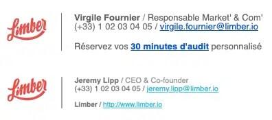 Signatures email non-cohérentes en interne - Limber