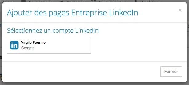 Choisir un compte LinkedIn lié à une page - Limber